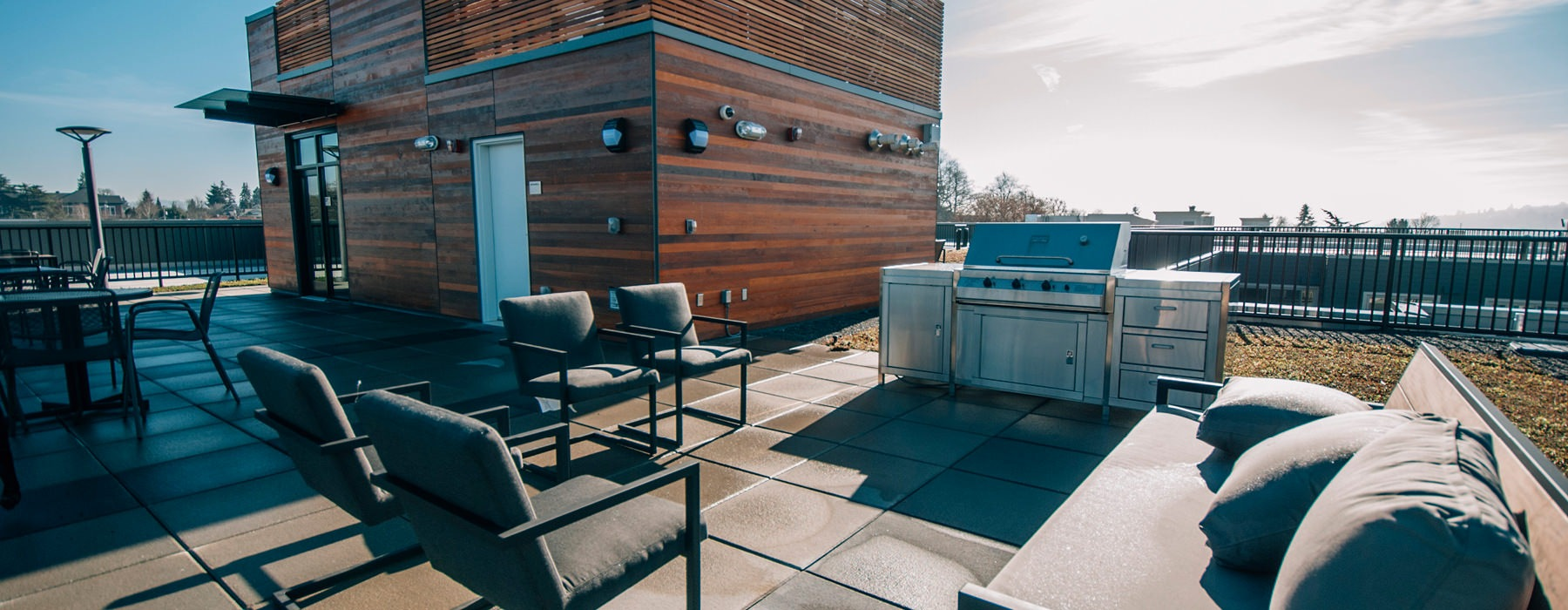 rooftop terrace with grill area