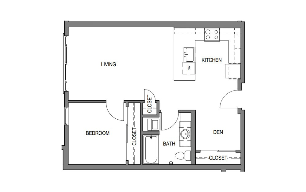 1x1 + Den E2 - 1 bedroom floorplan layout with 1 bath and 826 to 880 square feet.
