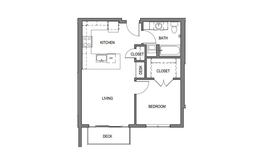 1x1 D2 - 1 bedroom floorplan layout with 1 bath and 602 to 652 square feet.