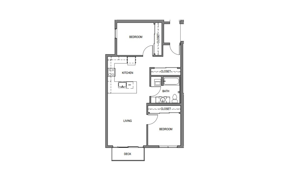 2x1 H1 - 2 bedroom floorplan layout with 1 bath and 844 square feet.