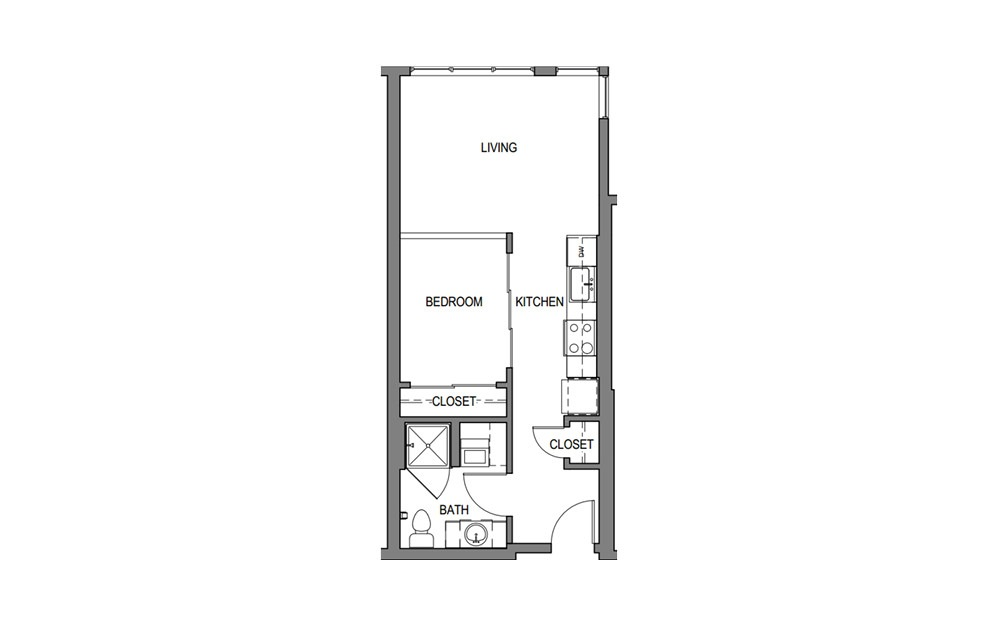 Lg Urban 1x1 B2 - 1 bedroom floorplan layout with 1 bath and 598 to 608 square feet.