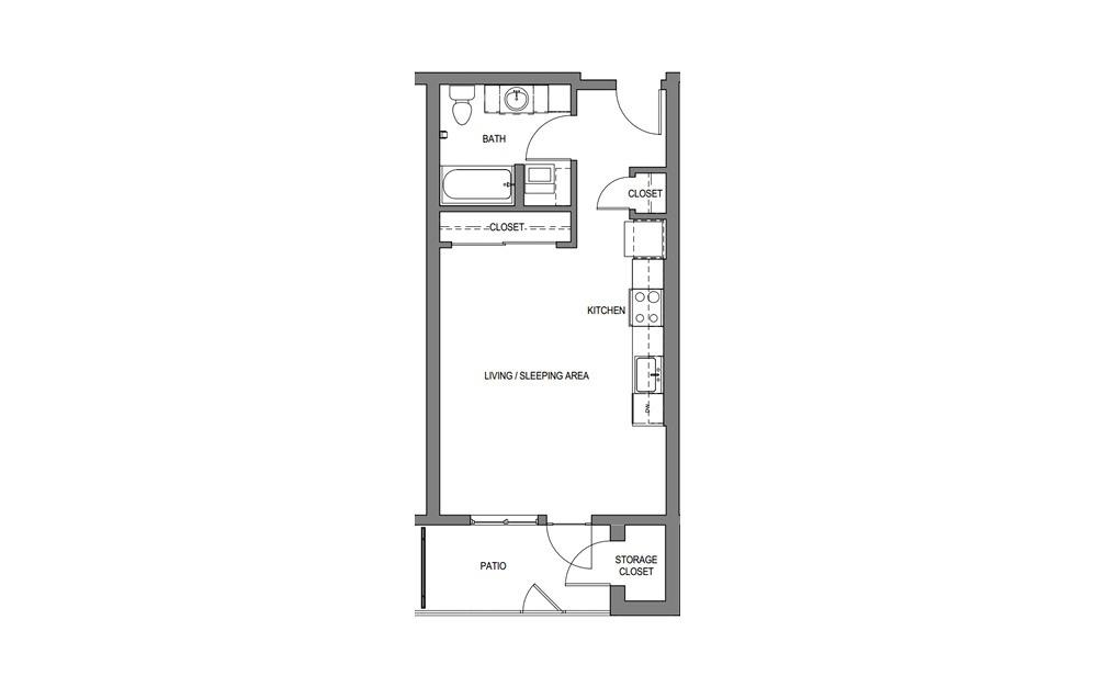 Studio  - Studio floorplan layout with 1 bath and 483 square feet.